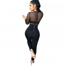 Deep V Neck Sexy Mesh Hollow Jumpsuit