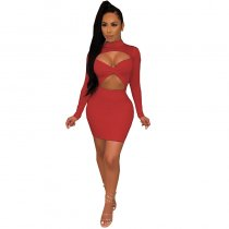 Mock Neck Cutout Ruched Long Sleeve Sexy Bodycon Club Dress