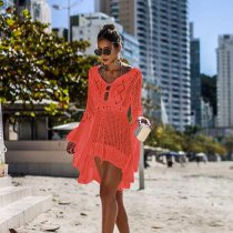 Hollow Out Knit Flared Sleeve Beach Blouse