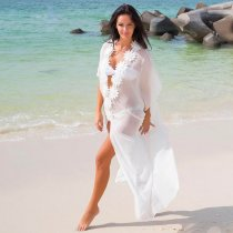 See-Through Chiffon Appliques Long Cover-Up Dress