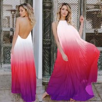 Ombre Halter Pleated Dress