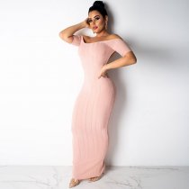 Simple But Sweet Off Shoulder Deep Back Cut Maxi Dress