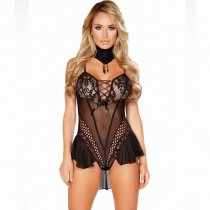 Black Ruffle Skirt Trim Lace Mesh Teddy
