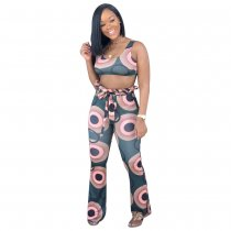 Wide Leg Printed Vest Top And Pants