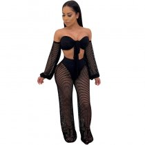 Solid Off The Shoulder Lantern Sleeve Hollow Out Two Piece Sets