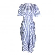 Asymmetrical Grids Printed Cotton Split Dress