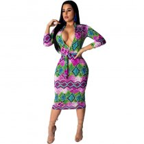 Women's Fashion Sexy Printed Mid Dress With Belt