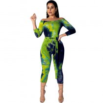 Casual Galaxy Star Print Off Shoulder Cropped Jumpsuits