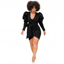 Camella- Puff Sleeve Skuba Dress