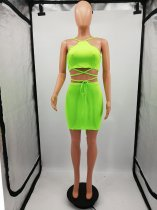 Fluorescent Bright Color Two Piece Skirt Sets
