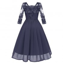 Lace Upper Bridemaid Wedding Chiffon Retro Dress