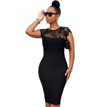 Lace Stitching Slimming Midi Dress