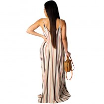 Spaghetti Strap Multi Color Maxi Dress