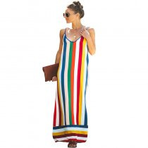 Spaghetti Strap Multi Color Stripe Maxi Dress