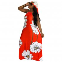 Lotus Print Halter Maxi Dress with Headscarf