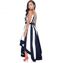 Dalis Off-white Navy Blue Stripes High-low Dress