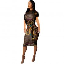 Printed High Neck Midi Dresses