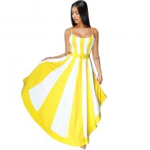 Dalis Off-white Yellow Stripes High-low Dress