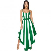 Dalis Off-white Green Stripes High-low Dress