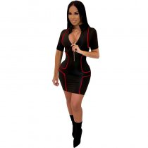 YAYA Turn-down Neck Zipper Mini Dress