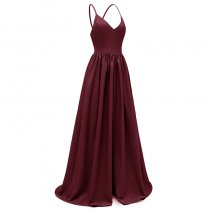 Spaghetti Strap Backless Chiffon Gown