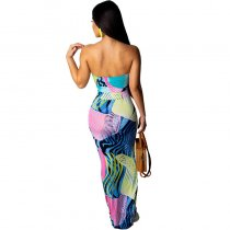 Print Strapless Fishtail Maxi Dress
