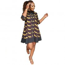 Fruit Print Plus Size Ruffle Dress with Bow