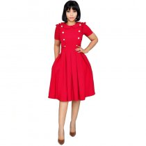 Doll Collar Stitching Buckle Pleated Dress