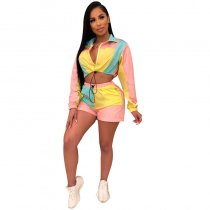 Casual Splicing Multi-color Sports Two-piece Set