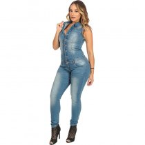 Sleevelss Denim Jumpsuit