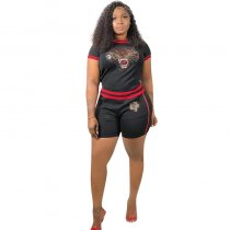 Tiger Head Thread Short Sleeve Shorts Set