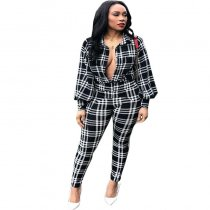 Plaid Printed Lantern Sleeve Two-Piece Set