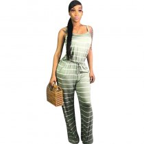 Printed Striped Straps Jumpsuit with Wide-leg