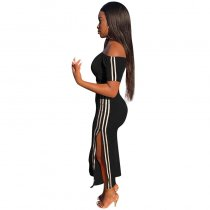 Solid Color Stitching Stripe Crop Top and Pants