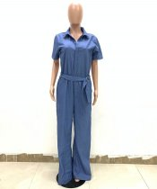 Casual Denim Jumpsuit with Wide-leg