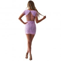 Lace Embroidered Backless Crop Top and Skirts Set
