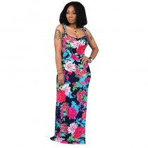 Casual Sling Floral Print Maxi Dress