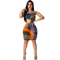 Strapless Print Tube Midi Dress