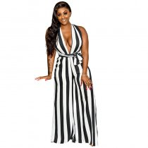 Summer V Neck Bandage Jumpsuits with Wide-leg