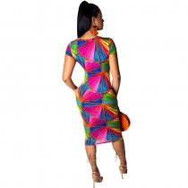 Printed Bandage Mid Dress