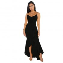 Constance Ruffle Accent High-low Maxi Dress