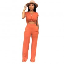 Casual Soild Color Crop Top and Flared Pants