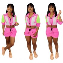 Zip Up Long Sleeve Patchwork Casual Fluorescent Pant Set