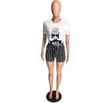 Casual Cartoon Printed White T-shirt and Short