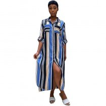 Stripe Print Plus Size Side Slit Casual Shirt Dress