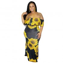 Plus Size Floral Printed Maxi Dress