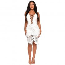 Sexy V Neck Hollow-out White Knee Length Dress