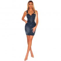 White-skinned Sleeveless Hole Denim Mini Dress