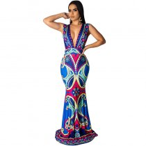 Casual Sleeveless Ethnic Print Maxi Dress
