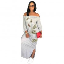 Casual Off The Shoulder Printed Ankle Length A Line Dress